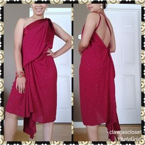 Ruby One Shoulder Drape Embellished Dress